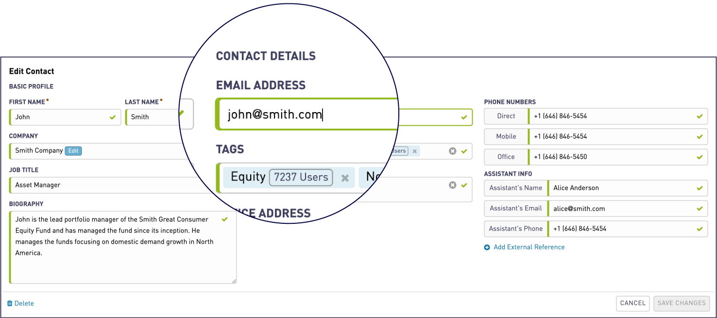 You can edit email address of a contact | WeConvene